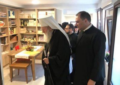 Негово Светейшество патриарх Неофит – преди да освети сградата на Неделното училище